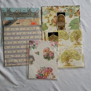 3/$20 Vintage gift wrap lot of 6 wrapping paper